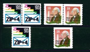 US Scott # 2149a & 2150a 1985 Reg Coil Pairs & Set of Singles Issue