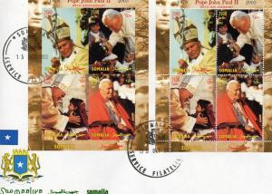 Somalia 2003 Pope John Paul II (2) Sheets Perforated + Imperforated in FDC