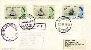 Tristan Da Cunha 1d QEII Flagship of Tristao da Cunha (2) and 1 1/2d QEII Dut...