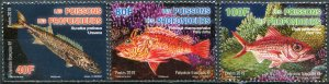 French Polynesia 2019. Deepwater Fish (MNH OG) Set of 3 stamps
