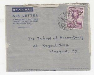 GOLD COAST, 1945 KGVI 6d. on Air Letter, SEKONDI cds. to Scotland.