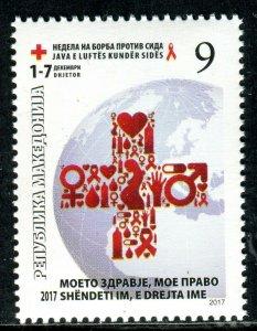 264 - MACEDONIA 2017 - RED CROSS - AIDS - MNH Set