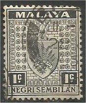 NEGRI SEMBILAN, 1936 used  1c Arms of Negri Sembilan Scott 21