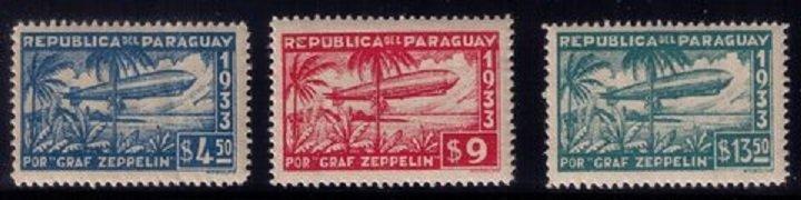 Paraguay Scott #C79-C81 MINT-LH-OG ZEPPELIN AIR SHIP SERIES F-VF