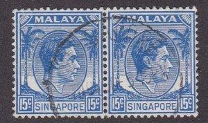 Singapore # 11, King George VI, perf 14, Used Pair