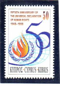 Cyprus Sc 925 1998 Declaration of Human Rights stamp mint NH
