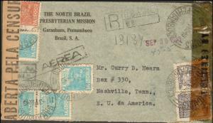 BRAZIL 1943 REGISTERED  MULTI STAMP TO UNITED STATES + MULTI CENSOR TAPES