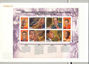 Mali Black Jazz Musicians 1v M/S of 8 Imperf Proof Unissued in Folder