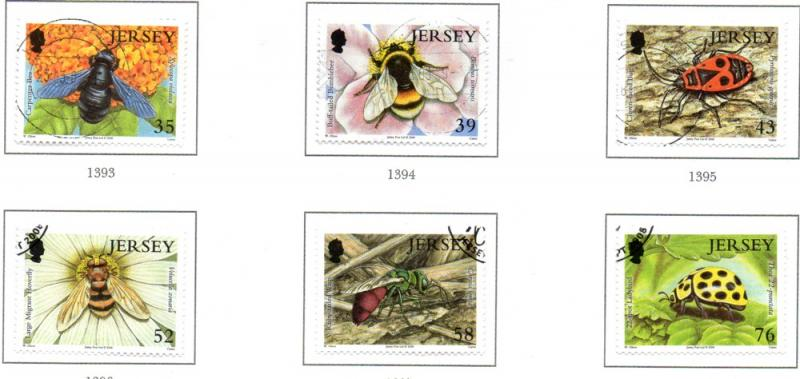 Jersey Sc 1336-41 2008  Insects stamp set used