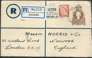 NEW ZEALAND 1957 9d registered letter uprated used Wairoa to UK............42566