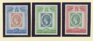 St. Lucia Scott #176-8, Centenary of St. Lucia Postage Stamps (Stamps on Stamps)