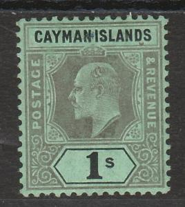CAYMAN ISLANDS 1907 KEVII 1/- WMK CROWN CA
