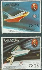 1981 Paraguay Scott C491-C492 1st Space Shuttle Mission MNH