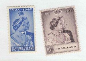 SWAZILAND # 48-49 VF-MNH KGV1 1948 SILVER WEDDING (SWAS0