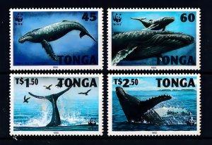 Tonga 1996 Sc#915/918 WWF HUMPBACK WHALE-MARINE LIFE Set (4) MNH