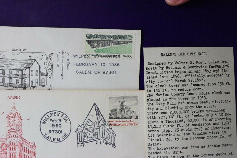WILPEX 1980 1981 1985 Salem OR Philatelic show expo souvenir cachet covers