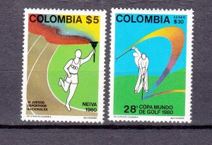 J26947 1980 colombia set mh #885,c695 sports