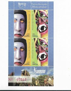 COSTA RICA 2008, AMERICA UPAEP, NATIONAL FESTS, MASK, CARNIVAL, MINISHEET MNH