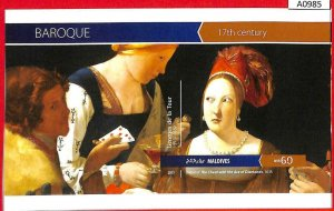 A0985 MALDIVES - ERROR IMPERF Sheet 2015 Art BAROQUE De La TOUR живопись барокко