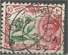 ZANZIBAR, 1961, used 10c, Khalifa, Scott 265