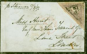 Cape of Good Hope 1859 Mourning  Cover From Cape Town to London Lime Street