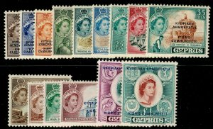 CYPRUS SG173-187, COMPLETE SET, LH MINT. Cat £110.