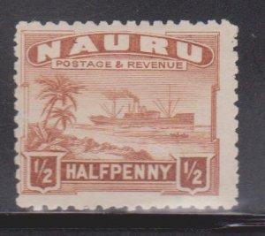 NAURU Scott # 17 MH - Ship Palm Trees & Beach
