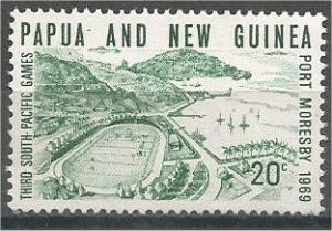 PAPUA NEW GUINEA, 1969 MNH 20p, Harbor, Scott 286