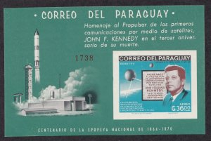 Paraguay # 1001a, John F. Kennedy, Space imperf sheet, NH, 1/2 Cat.