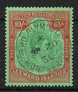 LEEWARD ISLANDS SG113b 1945 10/= GREEN & RED/GREEN ORDINARY PAPER USED