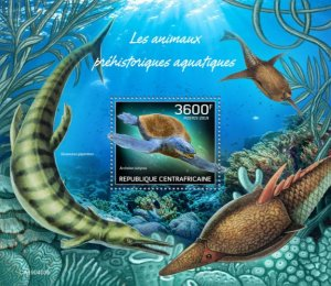 C A R - 2019 - Prehistoric Water Animals - Perf Souv Sheet - MNH
