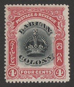 LABUAN : 1902 Crown 4c black & carmine, variety 'line through B'.