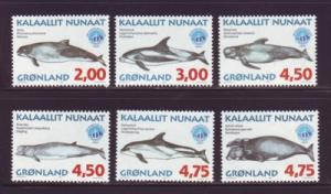 Greenland Sc 329-34 1998 Whales stamp set mint NH