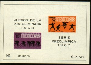 MEXICO 985a, 80c THIRD Pre-Olympic SOUVENIR SHEET 1967. MINT, NH. VF.