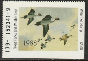 U.S.-TEXAS 8, STATE DUCK HUNTING PERMIT STAMP. MINT, NH. VF