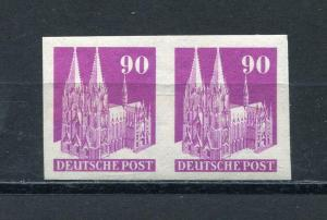 Germany 1948 Buidings Am& British Zone Imperf Pair Mi 96 IV WU MNH 400 euro 3370