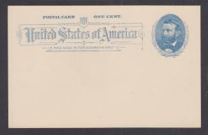 US Sc UX11 mint 1891 1c blue U.S. Grant Postal Card