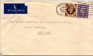 Croydon UK > North American Dye Corp Mount Vernon NY airmail 1946 2 GVI stamps
