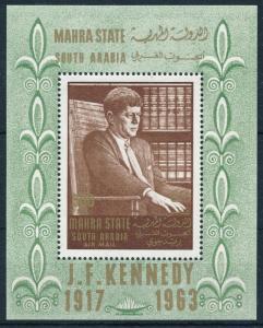 [95435] Aden Mahra State 1967 President John F. Kennedy Sheet MNH