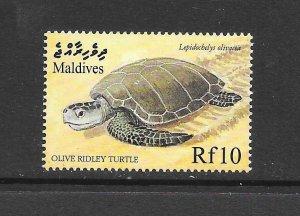 FISH - MALDIVES #2387  RIDLY TURTLE   MNH
