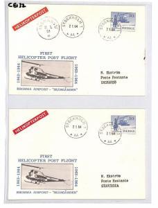 CE132 Sweden *STOCKHOLM* 1964 Helicopter Post Postcard x2