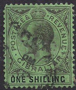 Gibraltar 1921 - 27 KGV 1/-d Black & Emerald used SG 98 CV £ 25 ( G1240 )