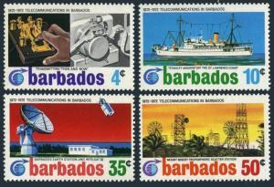 Barbados 368-371,MNH.Michel 337-340. Ship,Earth station,Intelsat 4.1972.