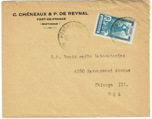 Martinique 1934 Fort de France cancel on cover to the U.S., Scott 97, $95