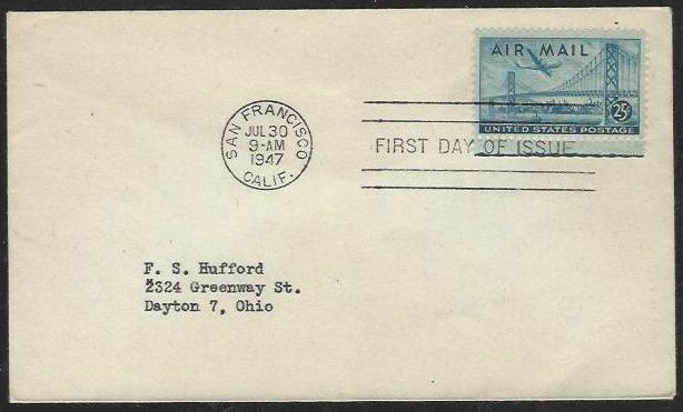 USA #C36 First Day Cover Uncacheted