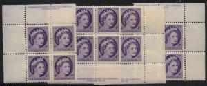 Canada - 1954 4c QE Wilding Plate 18 Blocks mint #340 Cat. C$24. NH