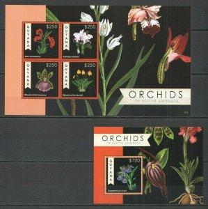 KS 2012 GUYANA FLORA FLOWERS ORCHIDS OF SOUTH AMERICA 1KB+1BL MNH