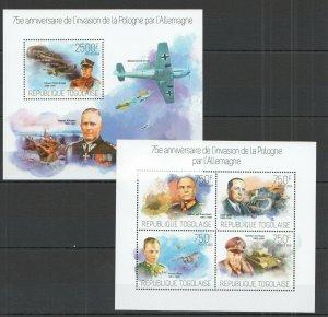 TG473 2014 TOGO WAR 75TH ANNIVERSARY INVASION GERMANY IN POLAND KB+BL MNH