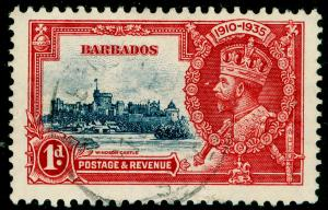 BARBADOS SG241, Silver Jubilee 1d deep blue & scarlet, FINE USED, CDS.