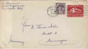 United States 1932 Los Angeles cancel Stamped envelope stamps cover ref 21720